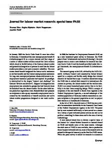 Journal for labour market research: special issue PASS - Springer Link