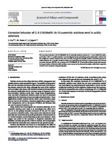 Journal of Alloys and Compounds Corrosion behavior of G-X ...