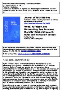 Journal of Baltic Studies White, European, and ...