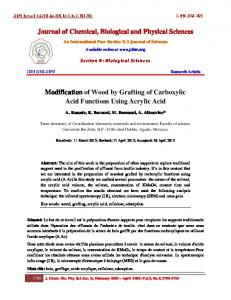 Journal of Chemical, Biological and Physical Sciences Modification of ...