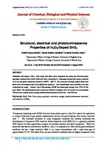 Journal of Chemical, Biological and Physical Sciences Structural ...