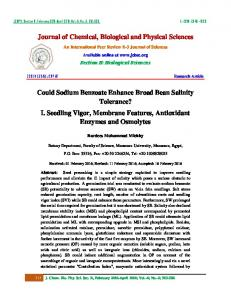 Journal of Chemical, Biological and Physical Sciences Could Sodium ...