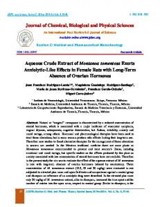 Journal of Chemical, Biological and Physical Sciences Aqueous ...