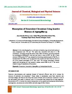 Journal of Chemical, Biological and Physical Sciences Biosorption of