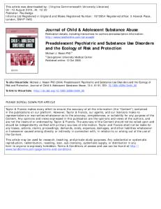 Journal of Child & Adolescent Substance Abuse Preadolescent ...