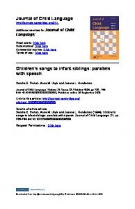 Journal of Child Language Children's songs to infant siblings