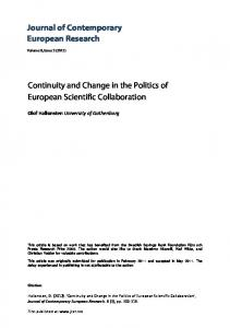 Journal of Contemporary European Research Continuity and Change ...