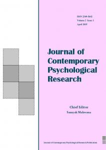 Journal of Contemporary Psychological Research