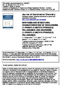 Journal of Coordination Chemistry SYNTHESIS AND ...