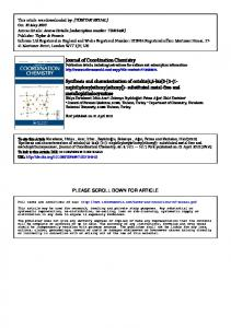 Journal of Coordination Chemistry Synthesis and