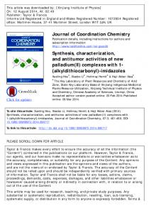 Journal of Coordination Chemistry Synthesis