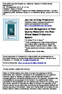 Journal of Crop Production Use and Management of ...