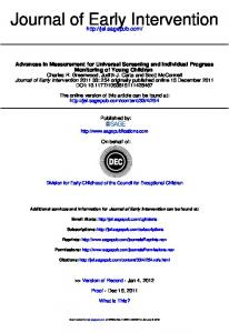Journal of Early Intervention - Center for Response to Intervention in ...