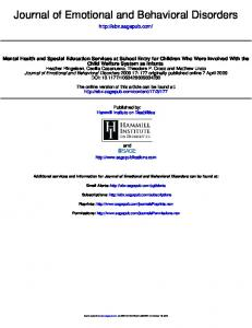 Journal of Emotional and Behavioral Disorders - Legal Center for ...