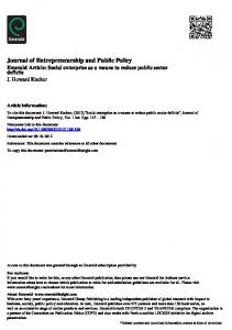 Journal of Entrepreneurship and Public Policy