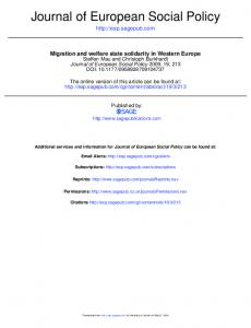 Journal of European Social Policy