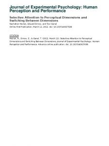 Journal of Experimental Psychology: Human Perception and