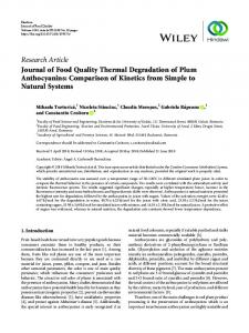 Journal of Food Quality Thermal Degradation of Plum Anthocyanins ...