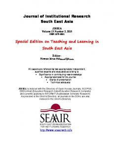 Journal of Institutional Research South East Asia ...