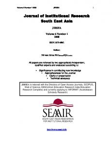 Journal of Institutional Research South East Asia