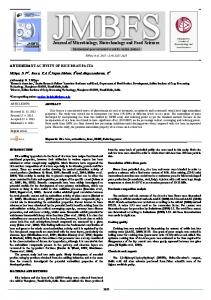 Journal of Microbiology, Biotechnology and Food ...