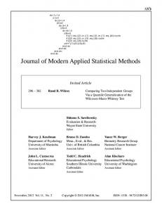 Journal of Modern Applied Statistical Methods