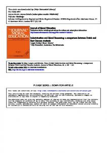 Journal of Moral Education Indoctrination and Moral Reasoning - Core