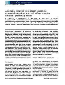 Journal of Oral Rehabilitation - Pattern Recognition Lab