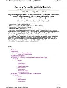 Journal of Personality and Social Psychology - CiteSeerX