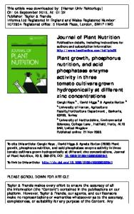 Journal of Plant Nutrition Plant growth, phosphorus