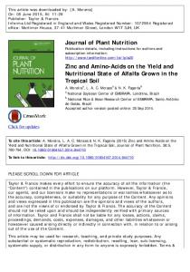 Journal of Plant Nutrition Zinc and Amino-Acids on the