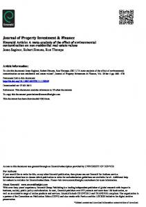 Journal of Property Investment & Finance - The Global Real Estate ...