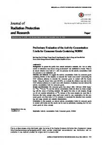 Journal of Radiation Protection and Research