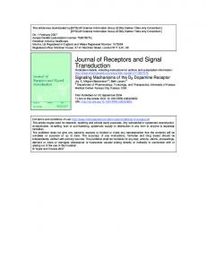 Journal of Receptors and Signal Transduction