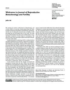 Journal of Reproductive Biotechnology and Fertility - SAGE Journals