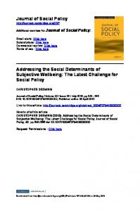 Journal of Social Policy Addressing the Social ...