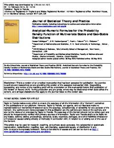 Journal of Statistical Theory and Practice Analytical