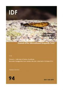 Journal of the International Dragonfly Fund International Dragonfly ...