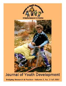 Journal of Youth Development Journal of Youth Development