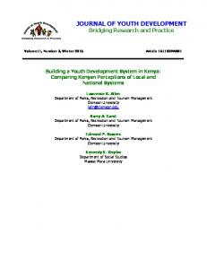 JOURNAL OF YOUTH DEVELOPMENT