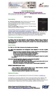 Journal Special Issue Financial Markets, Institutions and Instruments