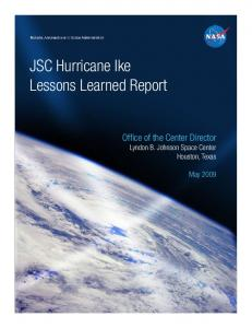 JSC Hurricane Ike Lessons Learned Report, May 2009