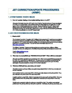 JST CORRECTION/UPDATE PROCEDURES (ARMY)