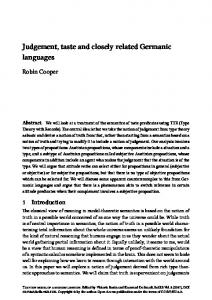 Judgement, taste and closely related Germanic languages