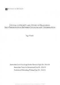 judicial authority and styles of reasoning: self ... - SSRN papers