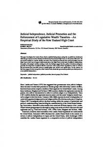 Judicial Independence, Judicial Promotion and the ... - Springer Link
