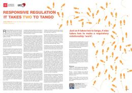 Julien Etienne - Responsive Regulation – It takes two to tango