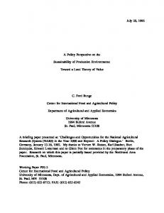 July 20, 1992 A Policy Perspective on the ... - AgEcon Search