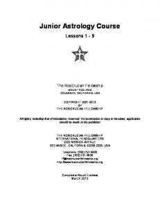 Junior Astrology Course, lessons 1 - 9 - The Rosicrucian Fellowship