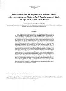 Jurassic continental rift magmatism in northeast Mexico